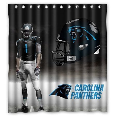 DEYOU Carolina Panthers Shower Curtain Polyester Fabric Bathroom Size 66x72 Inch
