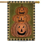 "Jack O' Stack Halloween House Flag Primitive Holiday 28"" x 40"" Briarwood Lane"