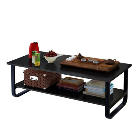 Tea Table Coffee Table Desk - Multi Function Wood & Steel Living Room Table - 2 Tier Polished Surface | Black Two Tiered Wood Table