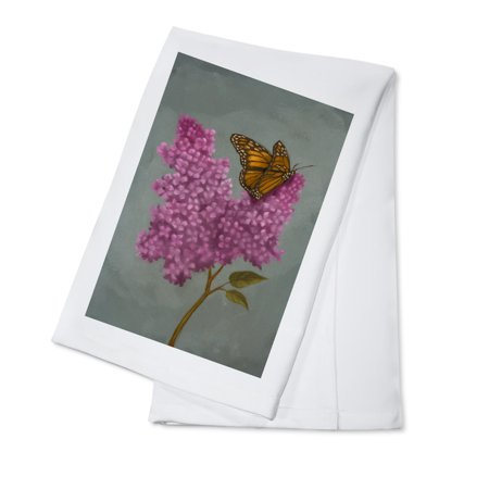 Lilac & Butterfly - Oil Painting - Lantern Press Artwork (100% Cotton Kitchen - Butterfly Dish