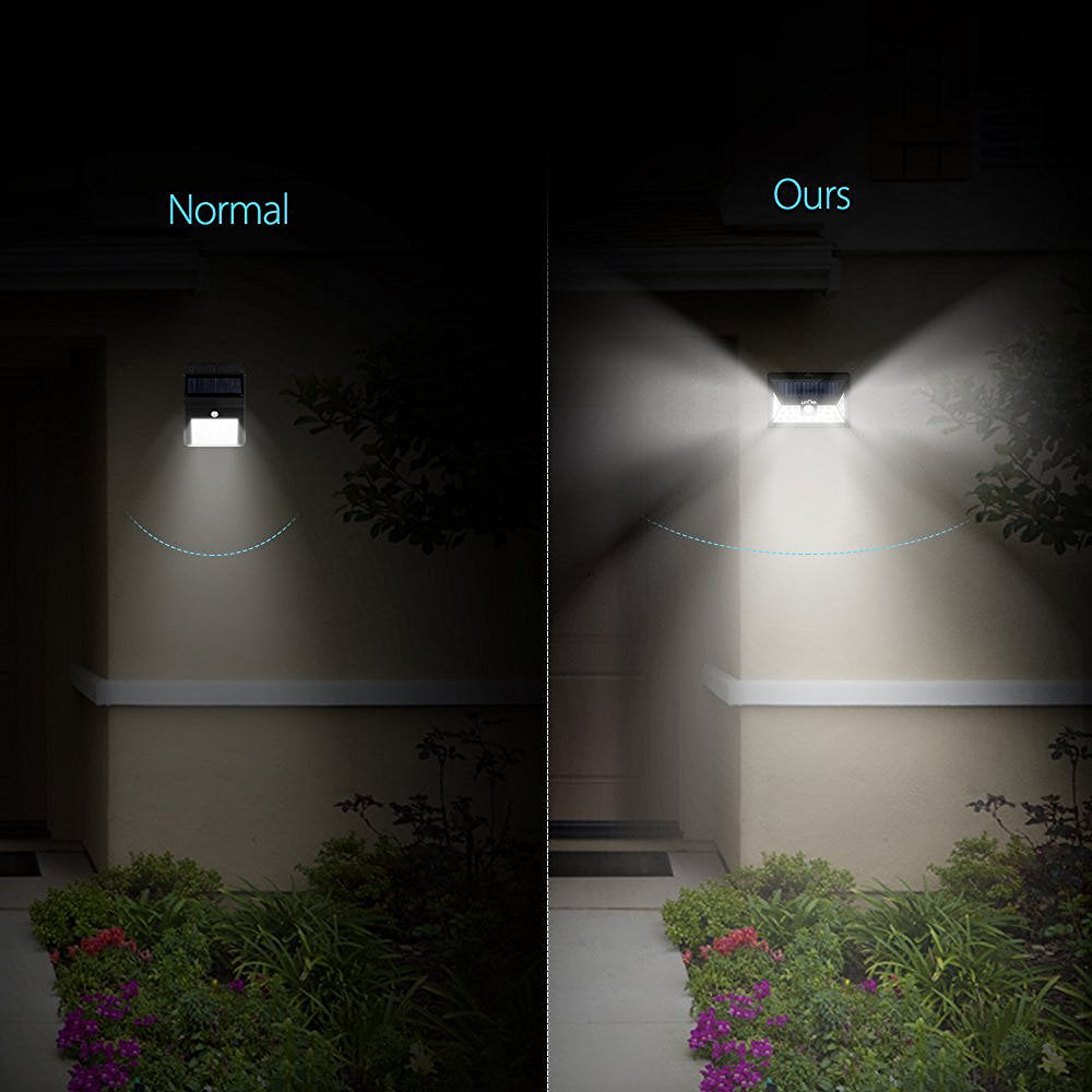 Litom 24 Led Outdoor Motion Sensor Solar Lights Wide Angle Design With 3 Leds Both Side For Driveway 1 Pack