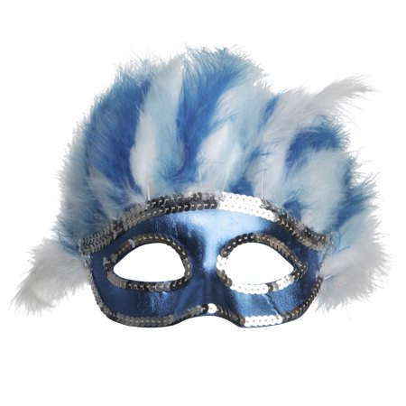 Halloween Woman Ice Blue Feather Mask