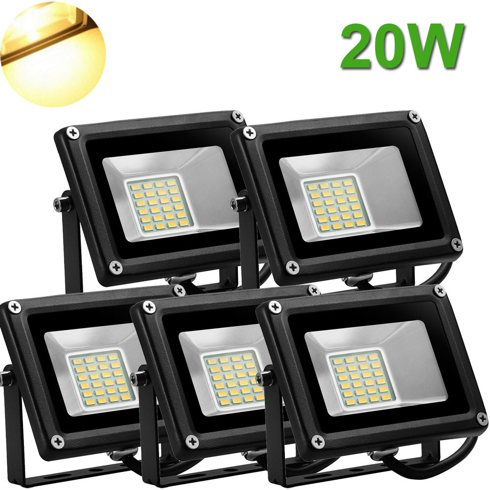 5X 20W LED Flood Light Outdoor Landscape Garden Lamp Waterproof Warm White 12V