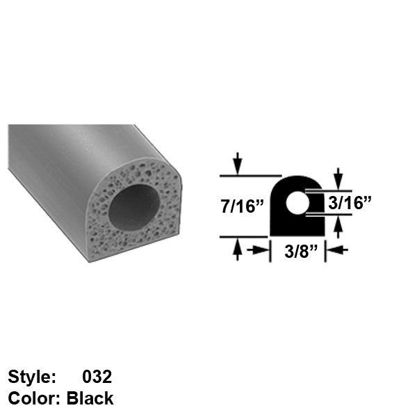 "Water and Weather Resistant Hollow Foam Rubber Surface Mount Seal, Style 032 - Ht. 7/16"" x Wd. 3/8"" - Black - 10 ft long"