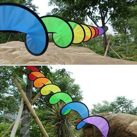 York'Street 1PC Outdoor Camping Tent Rainbow Spiral Windmill Colorful Wind Spinner Home Garden Decoration - Rainbow Wind Spinners