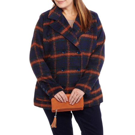 Large Classic Wool - Maxwell Studio Women's Plus-Size Faux Wool Classic Plaid Double-Breasted Peacoat
