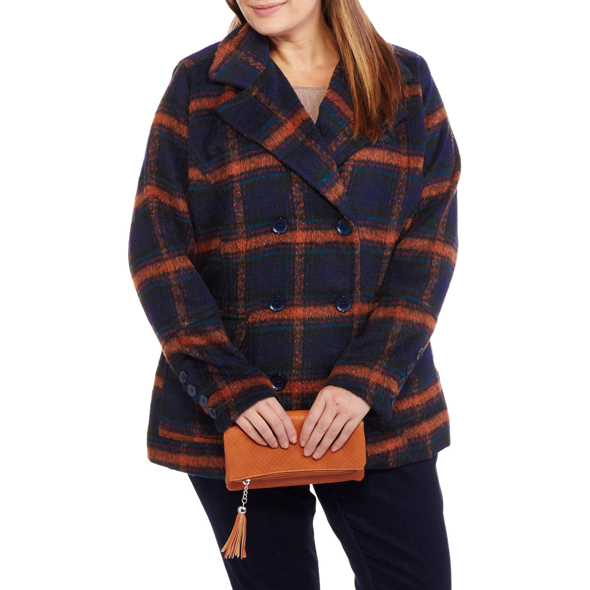 Women's Plus-Size Faux Wool Classic Plaid Double-Breasted Peacoat