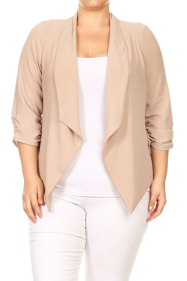 Plus Size Women's Trendy Style Open Front Solid Cardigan