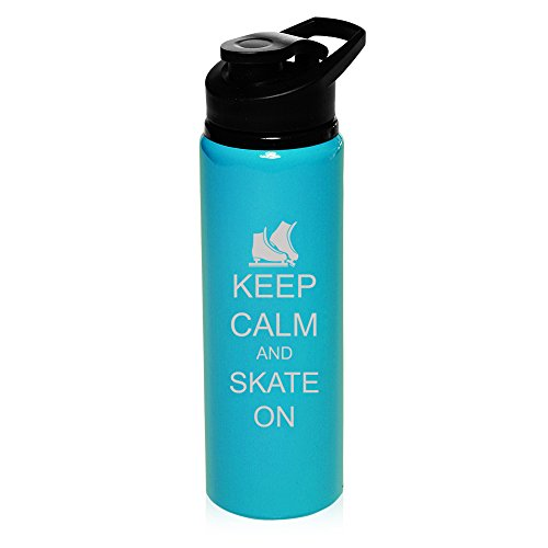 25 oz Aluminum Sports Water Travel Bottle Keep Calm And Skate On Ice Skates (Light-Blue) by