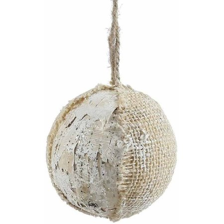 "Vickerman 4"" Half Burlap and Half Birch Bark Hanging Ball Christmas Ornament with Glitter Accents, Hanger Included"