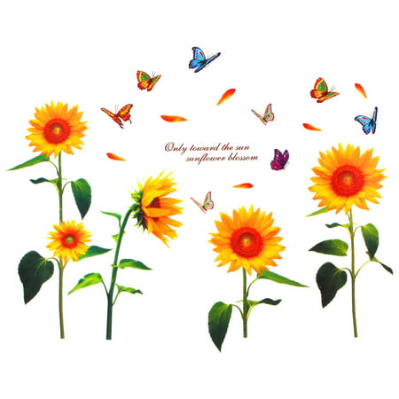 Unique Bargains Home Bedroom Sunflower Butterfly Pattern Wall Sticker Art Mural Decal Wallpaper ()