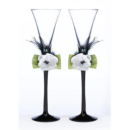 Green/Black Toasting Flutes