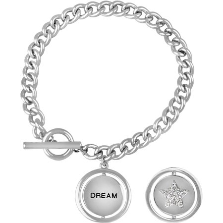 Swarovski Crystal Fine Silver-Tone Moon/Star Dream Toggle Bracelet, 7.5
