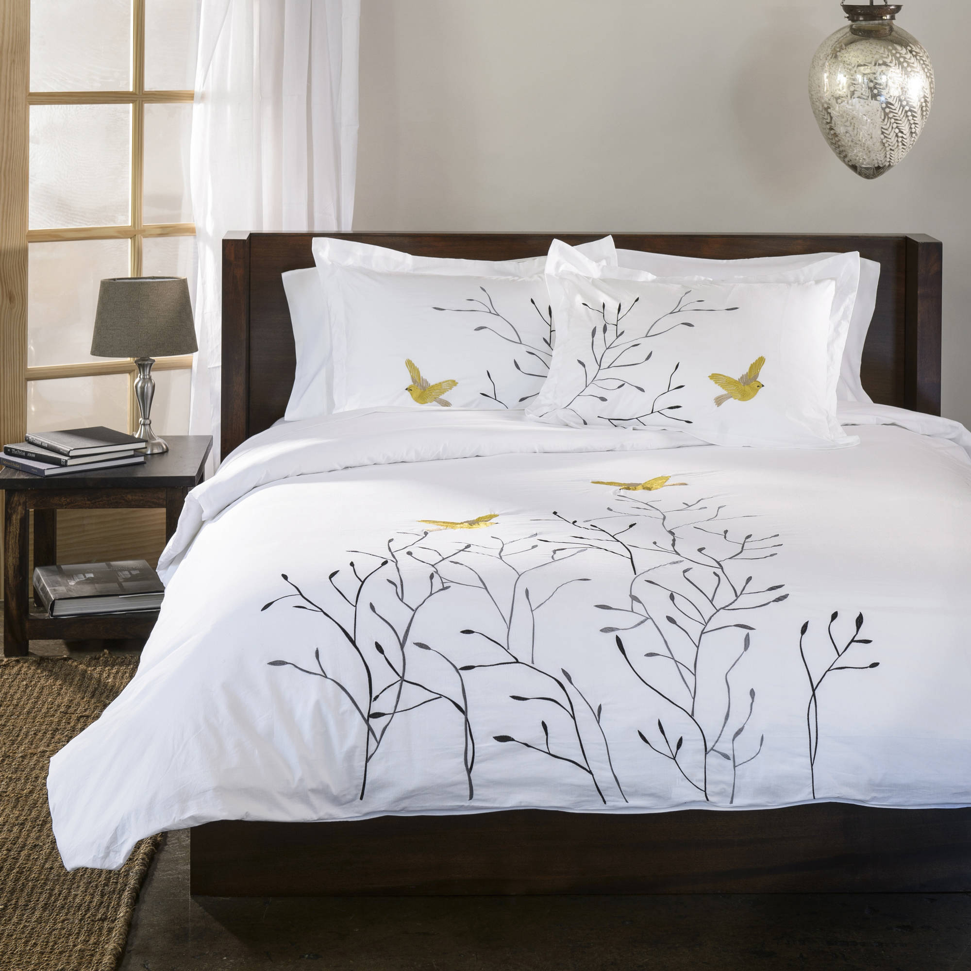Superior Swallow Premium Cotton Percale Embroidered 3-Piece Duvet Cover Set