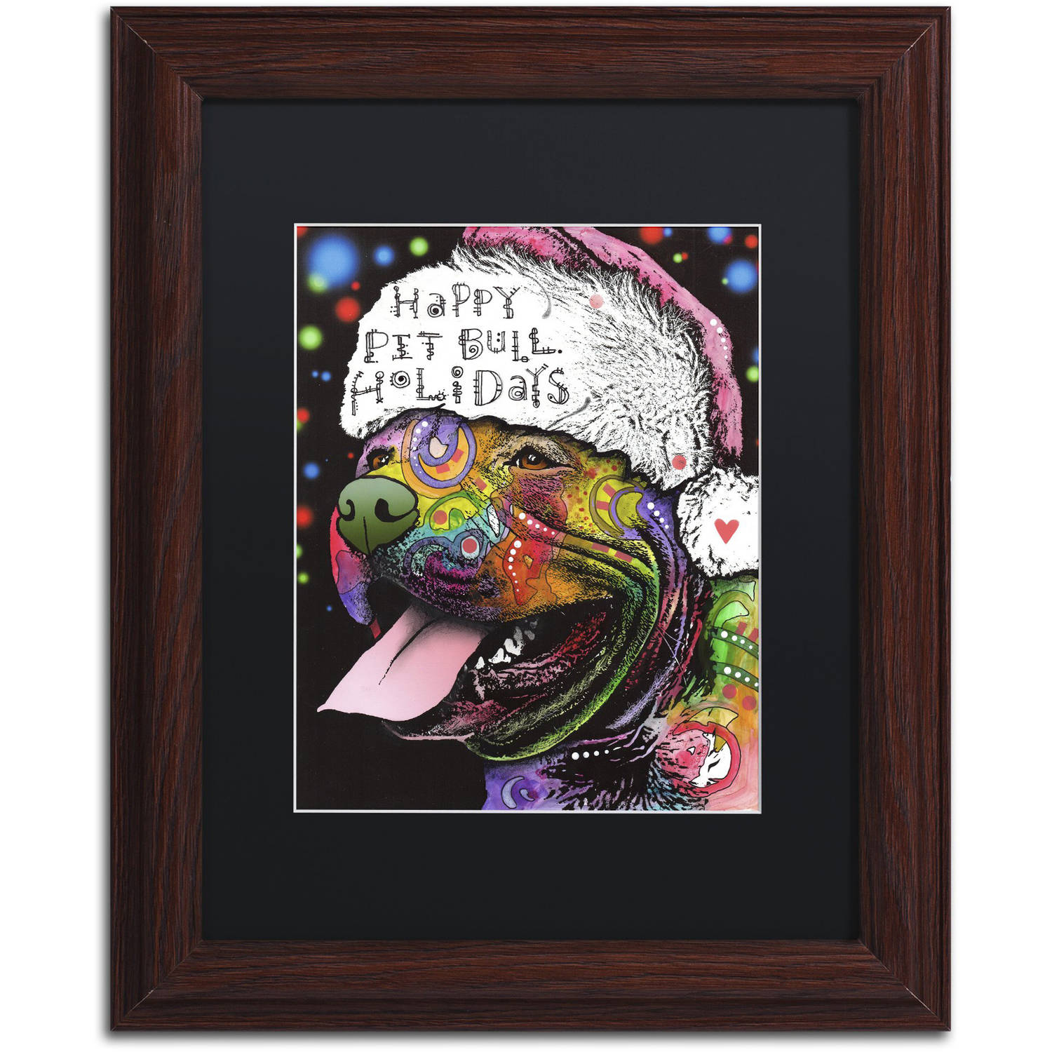 Trademark Fine Art 'Christmas Pitbull' Canvas Art by Dean Russo, Black Matte, Wood Frame