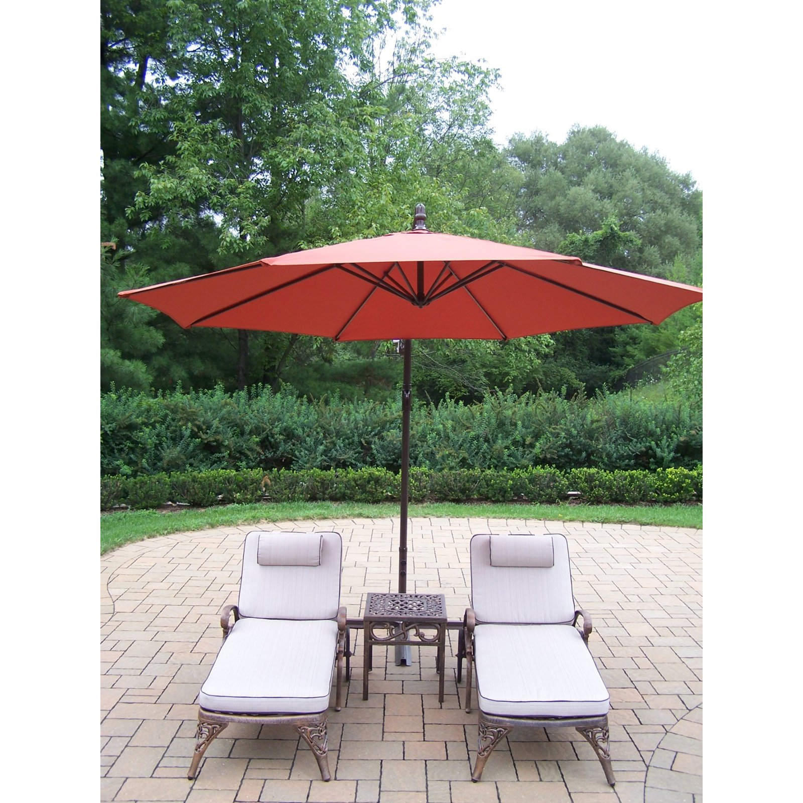 Oakland Living Elite Cast Aluminum Chaise Lounge Chat Set with Cantilever Umbrella