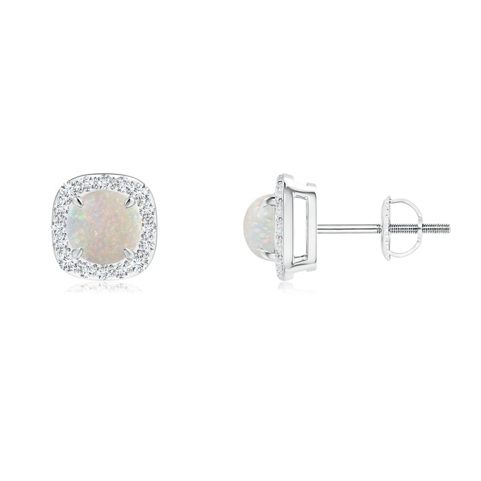 Angara Opal Floral Earrings in Platinum 7Irhfz3fE