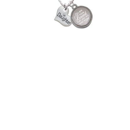 Silvertone Small ''Daughter'' Heart with Clear Crystal You Are More Loved Than You Will Ever Know Engraved Necklace