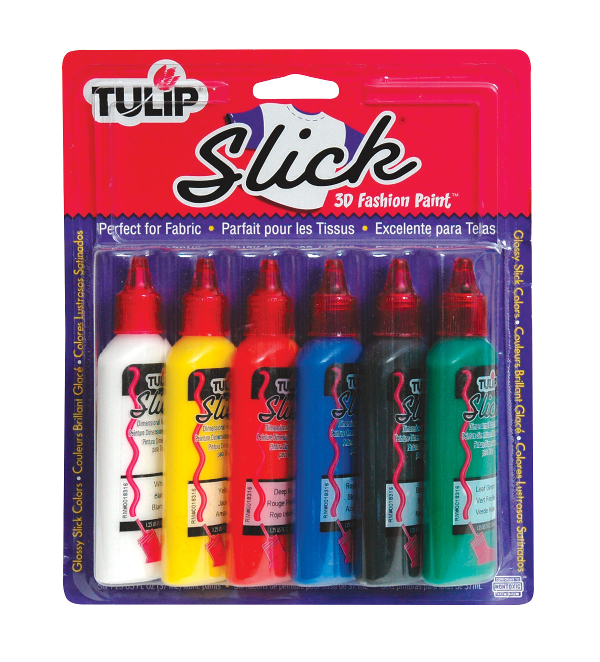 Tulip Washable 3D Fabric Paint Set, 1.25 oz Bottle, Assorted Slick Color, Set of 6