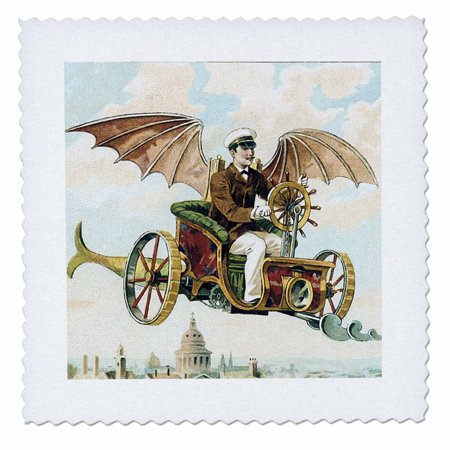 3dRose Vintage Steampunk Flying Machine Dirigible Design - Quilt Square, 6 by 6-inch