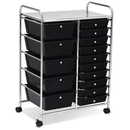 - Costway 15 Drawer Rolling Organizer Cart Utility Storage Tools Scrapbook Paper Multi-Use