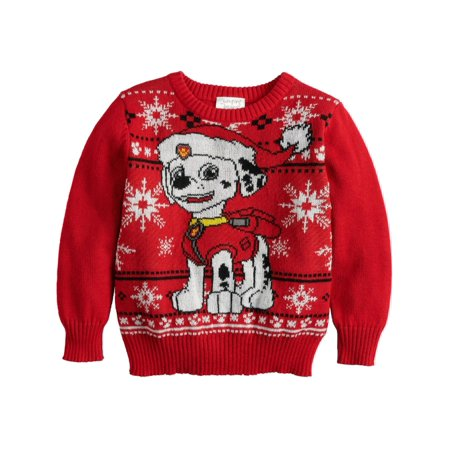 Paw Patrol Toddler & Boys Marshall Dalmatian Christmas Holiday Knit Sweater Christmas Sweaters Toddlers