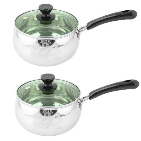 2 Tone Pan - Household Kitchen Stainless Steel Food Milk Porridge Pot Pan Silver Tone 2 Pcs