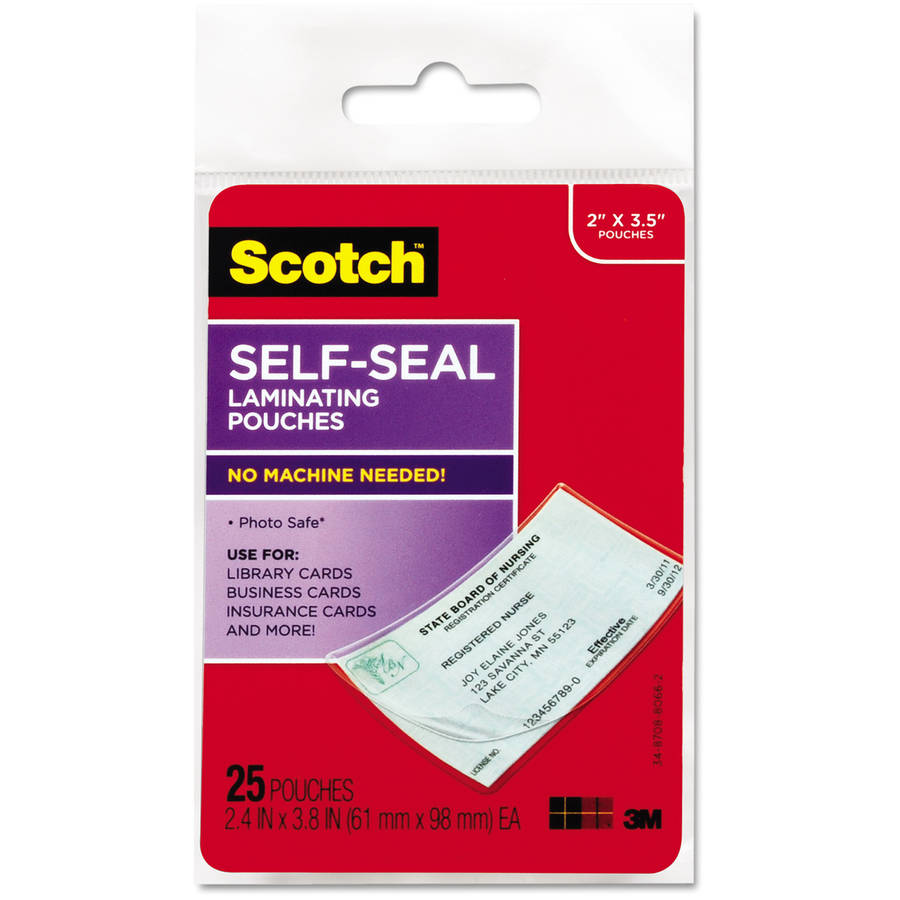 Scotch Self-Sealing Laminating Pouches, Business Card Size, 25pk