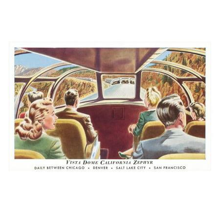 Train's Vista Dome, California Zephyr Laminated Print Wall - California Zephyr Vista Dome