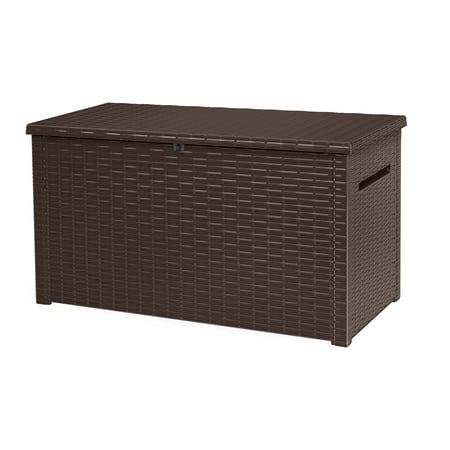 Keter Java Extra Large 230 Gallon Rattan Style Deck Box Plastic Resin Outdoor Storage Espresso Brown