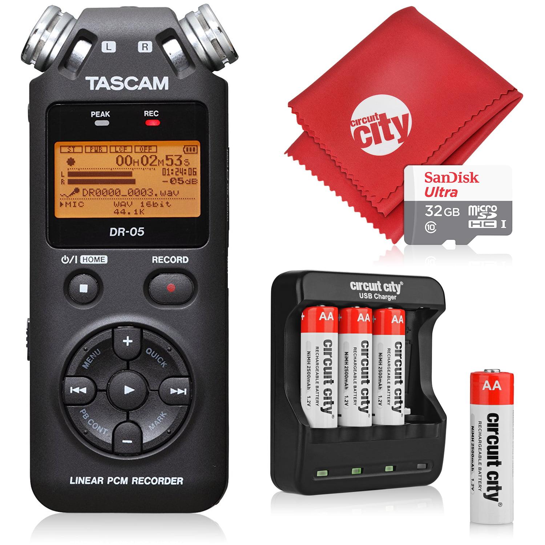 Tascam DR-05 Portable Handheld Digital Audio Recorder with Basic Accessory Bundle - (Black)