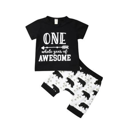 0-2T Baby Boy Short Sleeve T-Shirt & Short Pants Outfit Letter Print Black Tops Bear Print Pants Summer Clothing Set](Koala Bear Outfit)