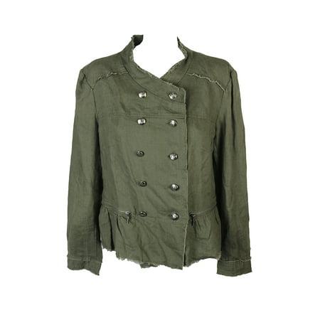 Inc International Concepts Olive Linen Peplum Military Jacket (Inc International Concepts Faux Leather Trim Military Jacket)