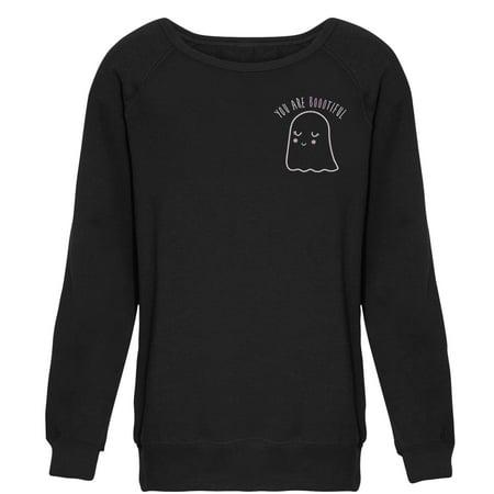 Chin Up Juniors' Halloween You Are Bootiful Ghost Raglan - Happy Halloween Bootiful