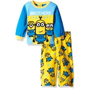 Despicable Me Boys' Pajamas Long Sleeve Top and Lounge Pants 2-Piece Fleece Sleepwear Set, Brothers Yellow, Size: 2T