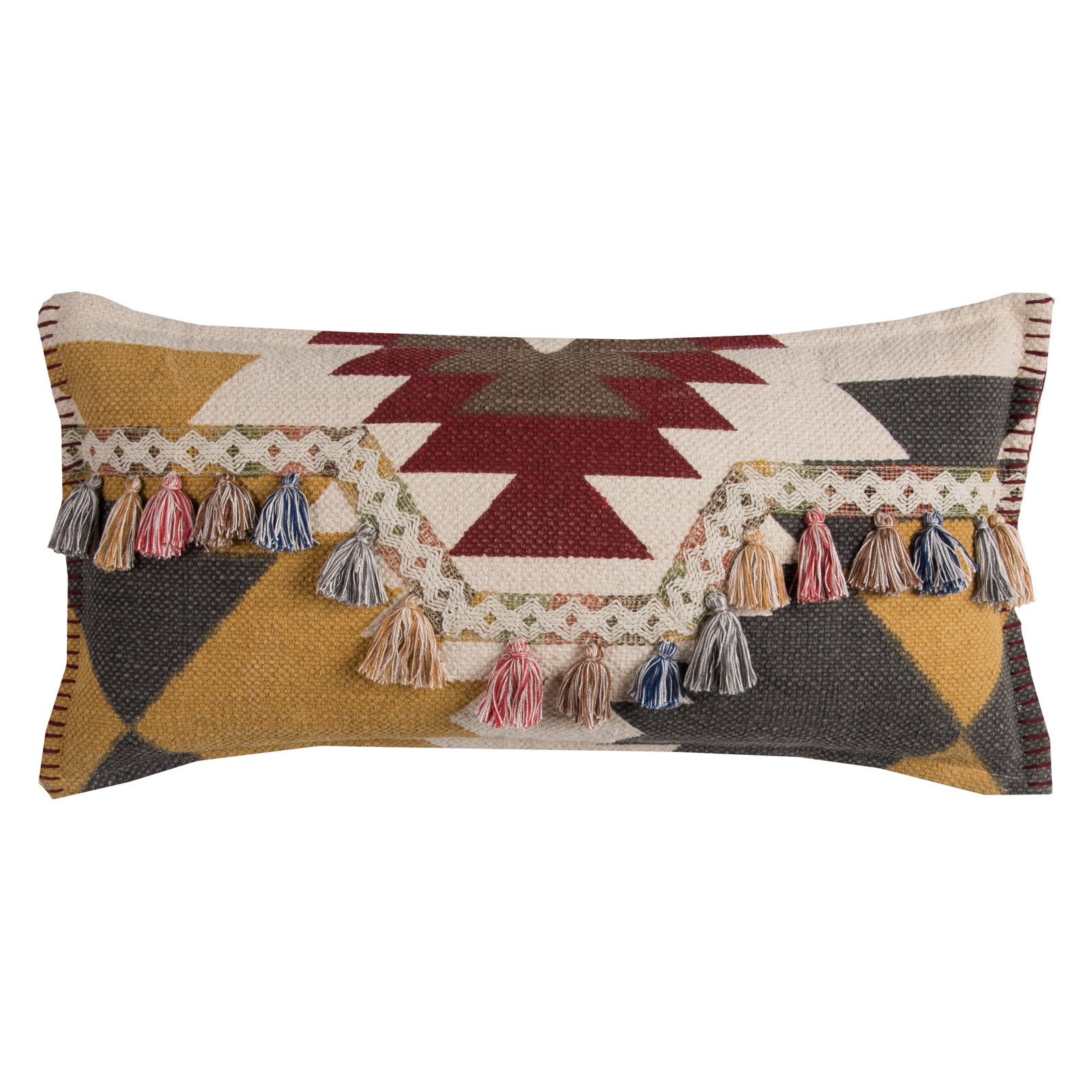 """Rizzy Home Decorative Poly Filled Throw Pillow Southwestern Motif 11""""X21"""" Yellow"""
