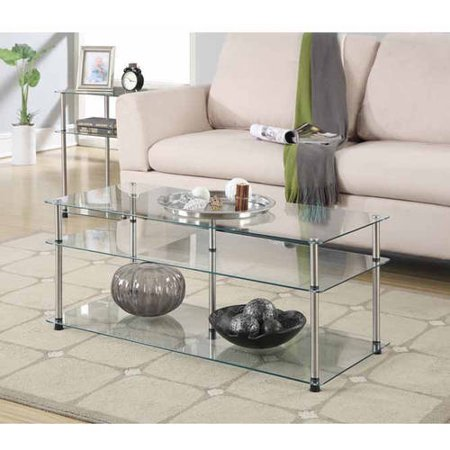 Convenience Concepts Designs2Go No Tools 3 Tier Coffee Table, Glass - Convenience Concepts Designs2Go No Tools 3 Tier Coffee Table