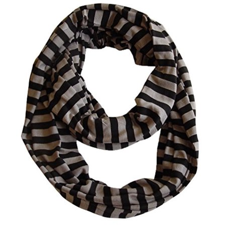 Peach Couture Lightweight 100% Cotton Striped Jersey Knit Infinity Loop Scarf (Black And Gray Striped Scarf)