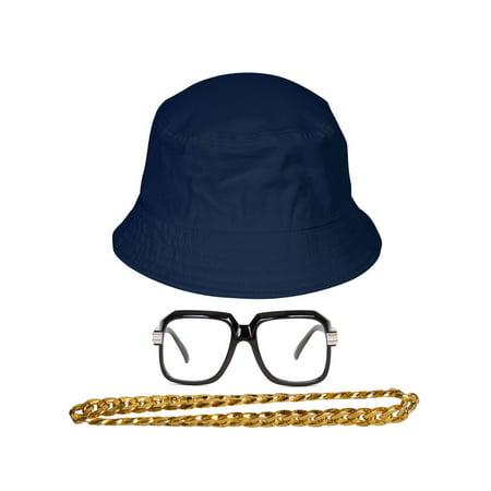 90s Hip-Hop Gold Chain Kit (Bucket Hat + Sunglass + Gold - Halloween Buckets