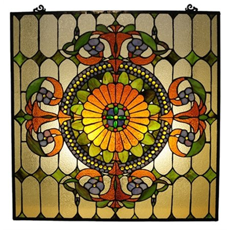 CHLOE Lighting Tiffany-glass Victorian Window Panel 25x25