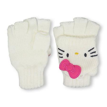 Kids Convertible Flip-Top Gloves Finder-less Mittens (White)