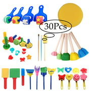 LNKOO 30 pcs Washable Paint Brushes Set for Toddler Kids Early Learning Toys Finger Paints sponges Art Supplies Gifts -nontoxic-100% Baby Safe