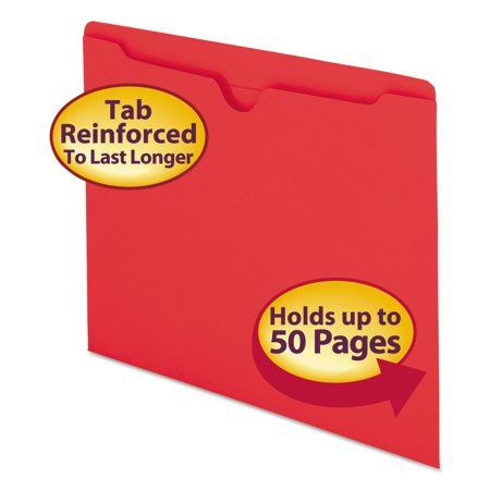 Smead Colored File Jackets w/Reinforced 2-Ply Tab, Letter, 11pt, Red, 100/Box -SMD75509