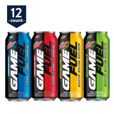 MTN DEW AMP GAME FUEL, 4 Flavor Variety Pack, 16 oz Cans, 12 Count + Private Beta Access Code (G Fuel Flavors)