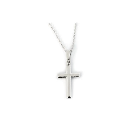 e7ab8df9a0a19b Beauniq - Solid Sterling Silver Rhodium Plated Small Plain Cross Pendant  Necklace - 16