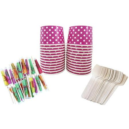 Hot Pink Polka Dot Mini Ice Cream Sundae Kit- 24 Pack