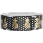 Love My Tapes Foil Washi Tape 15mmx10m-Gold Black Pineapple W/ Dots