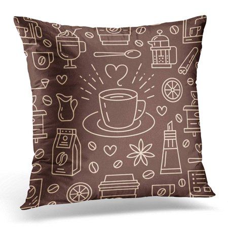 USART Coffee Cute Beverages Hot Drinks Flat Line Coffeemaker Machine Beans Cup Grinder Repeated for Cafe Pillow Case Cushion Cover 18x18