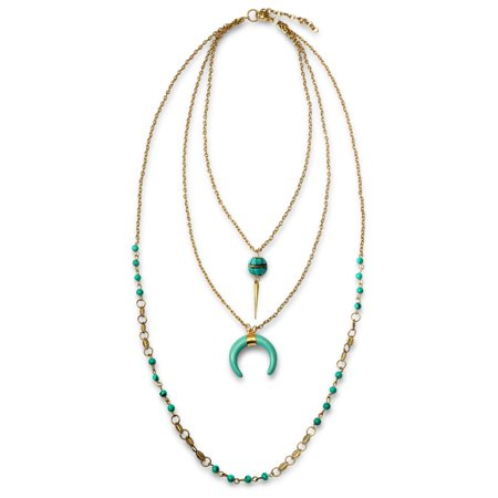 Boho Style Crescent Moon Horn Multi Layer Necklace For Teen For Women Stabilized Turquoise Bead Oxidized Gold Plated
