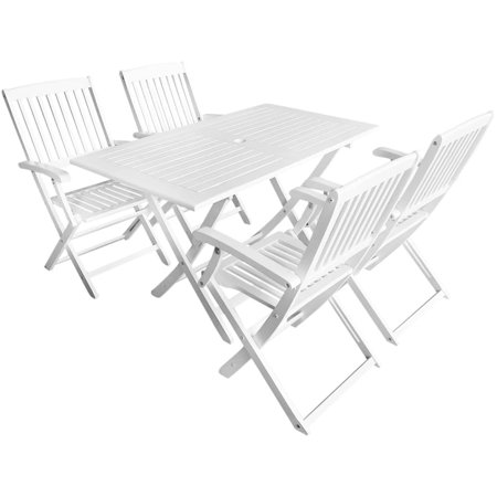 5 Piece Outdoor Dining Set Solid Acacia Wood White ()